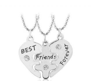 Conjunto 3 Colares Coração Best Friends Folheado - B56
