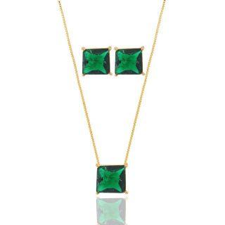 Conjunto Colar Brinco Quadrado Pedra Fusion Verde Folheado A Ouro