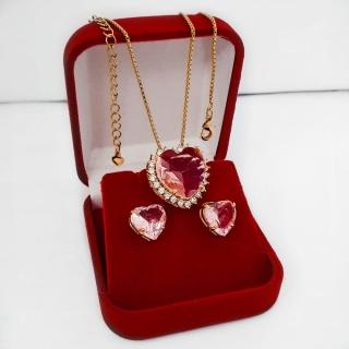 Conjunto Colar E Brinco Coração Pedra Rosa com Zircônia  Folheado A Ouro 18k