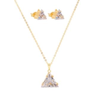 Conjunto Colar e Brinco Triângulo Zircônia Folheado A Ouro 18k