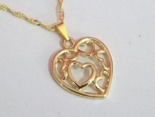 Corrente Feminina 45cm C/ Pingente Coração Folheado Ouro