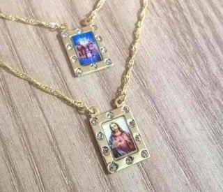 Escapulário Divino Pai Eterno E Jesus Cristo Strass Folheado