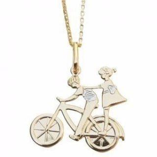 Gargantilha Casal Bicicleta Namorados Folheado A Ouro 18k.