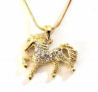 Gargantilha Colar Country Cavalo Strass Folheado A Ouro 18k