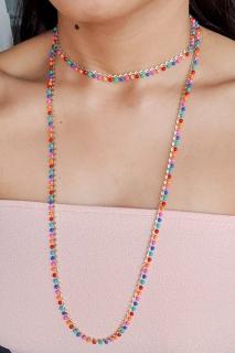 Mix de colares coloridos delicados Folheado a Ouro 18k