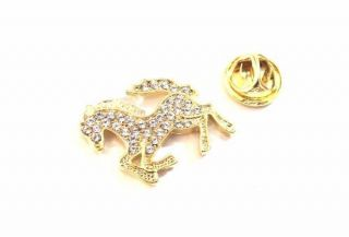 Pin Botton Broche Cavalo Com Strass Lindo Folheado.