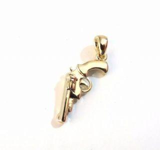 Pingente Revolver Calibre 38 Folheado A Ouro 18k