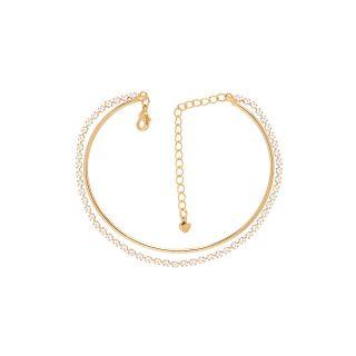 Pulseira Bracelete Com Strass Casamento Folheado A Ouro 18k