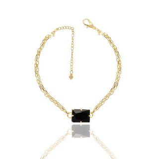 Pulseira Madrinha Cartier Com Pedra Preta Folheado A Ouro 18K