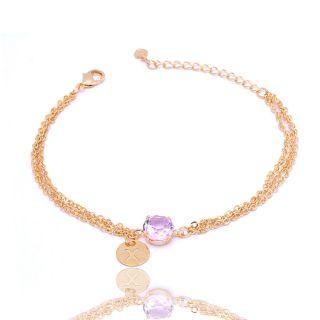 Pulseira Madrinha  Com Pedra Cristal Rosa Folheado A Ouro 18k