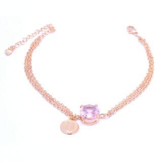 Pulseira Madrinha Com Pedra Grande Cristal Rosa Folheado A Ouro 18k