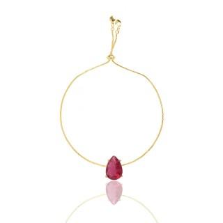 Pulseira Madrinha Gota Pedra Pink Fusion Folheado Ouro