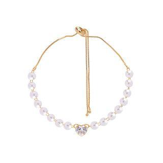Pulseira Noiva Gravatinha Perola Coração Cristal Folheado A Ouro 18k
