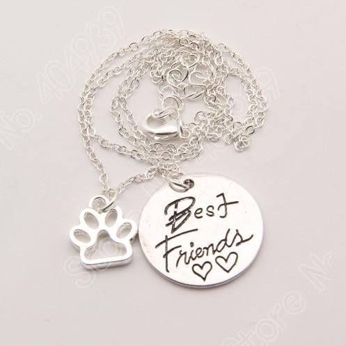 1 Colar Best Friends Pingentes Pet Dog Folheado A Prata