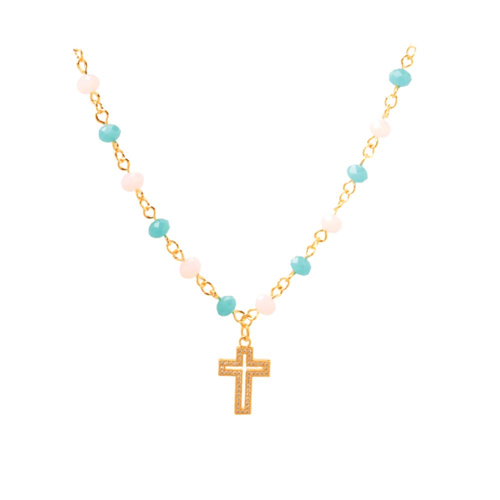 Choker cruz vazada com  Zircônia e miçangas coloridas folheado a Ouro 18k