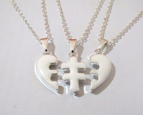 3 Colares Amizade Coração Branco Forever Folheado Ouro Bf11