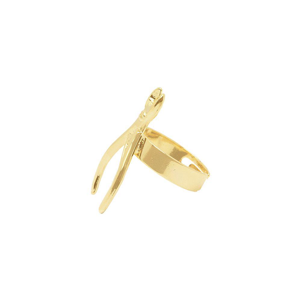 Anel Manicure Folheado A Ouro 18K Ouro - Regulável X