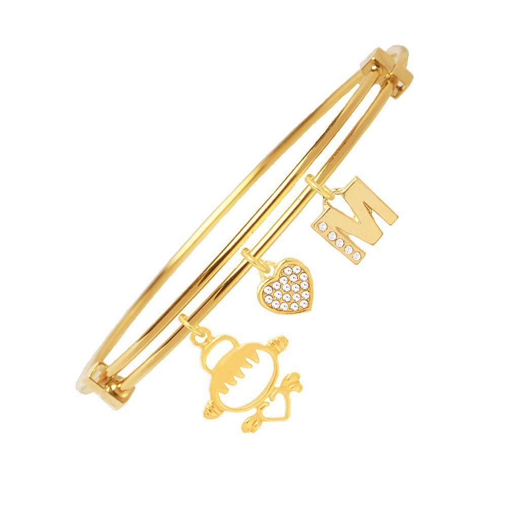 Bracelete Com Pingente Filha E Inicial Folheado A Ouro