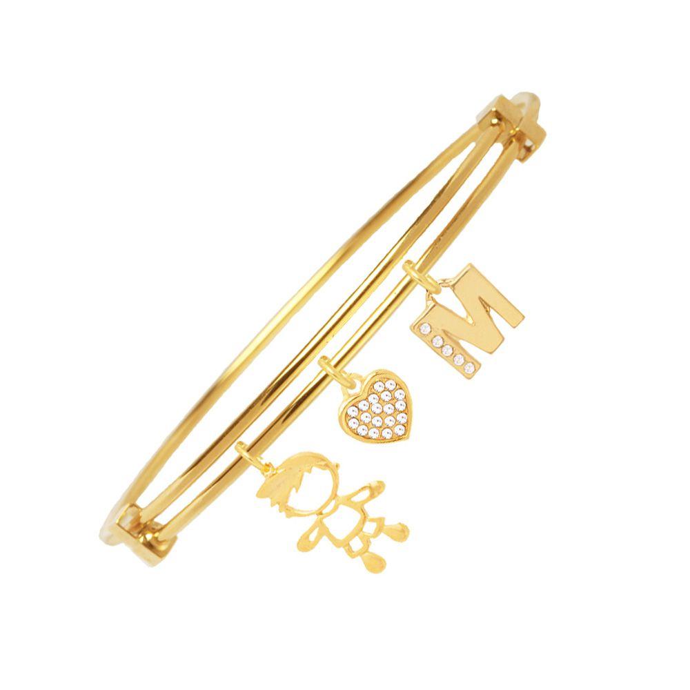 Bracelete Com Pingente Menino E Inicial Folheado A Ouro