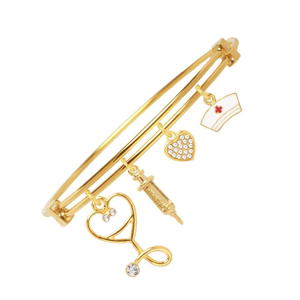 Bracelete Enfermagem Esteto Seringa E Chapéu Folheado A Ouro