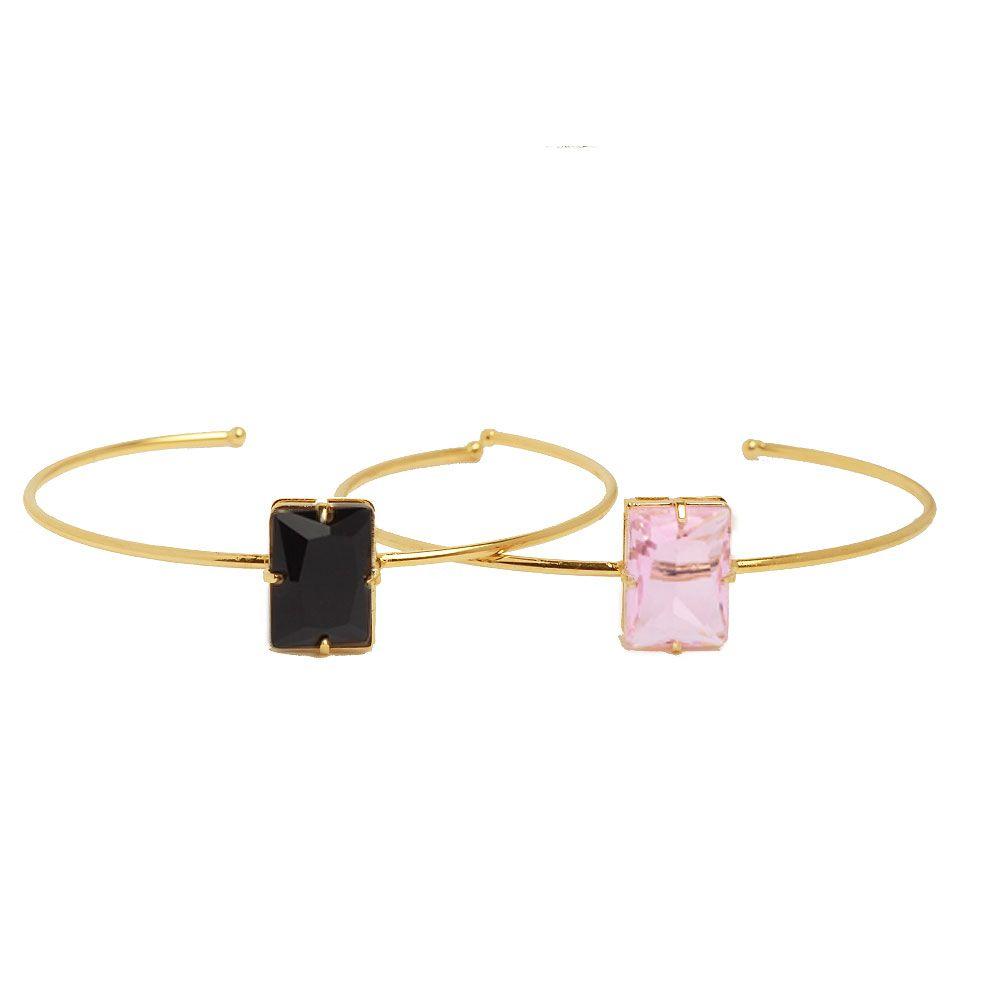 Bracelete Pedra Retangular Folheado A Ouro 18k