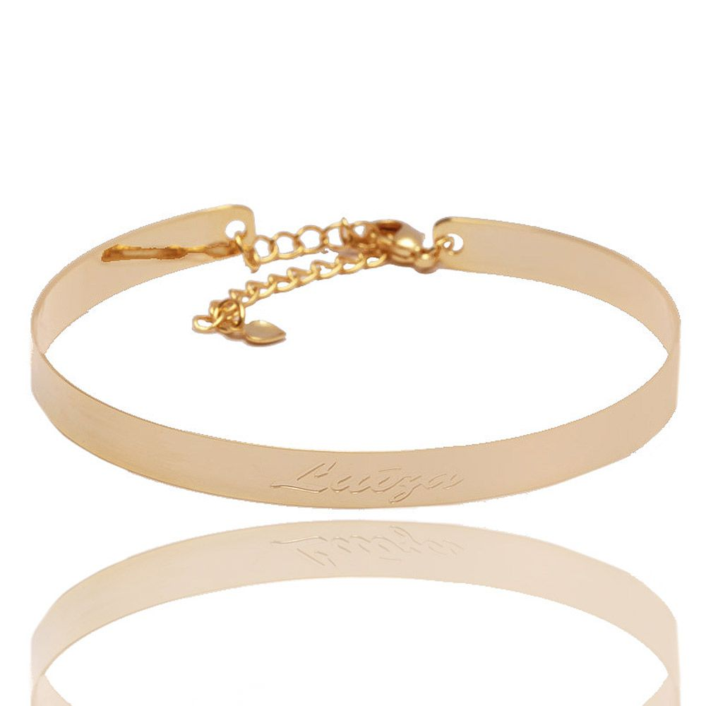 Bracelete Personalizado Com Nome Folheado A Ouro 18k