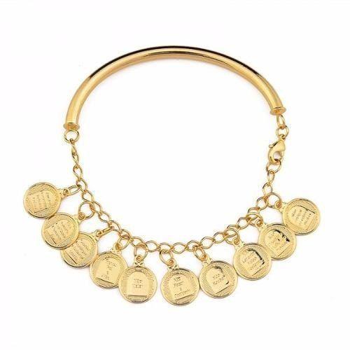 Bracelete Pulseira Dez Mandamentos Folheada Ouro 18k X