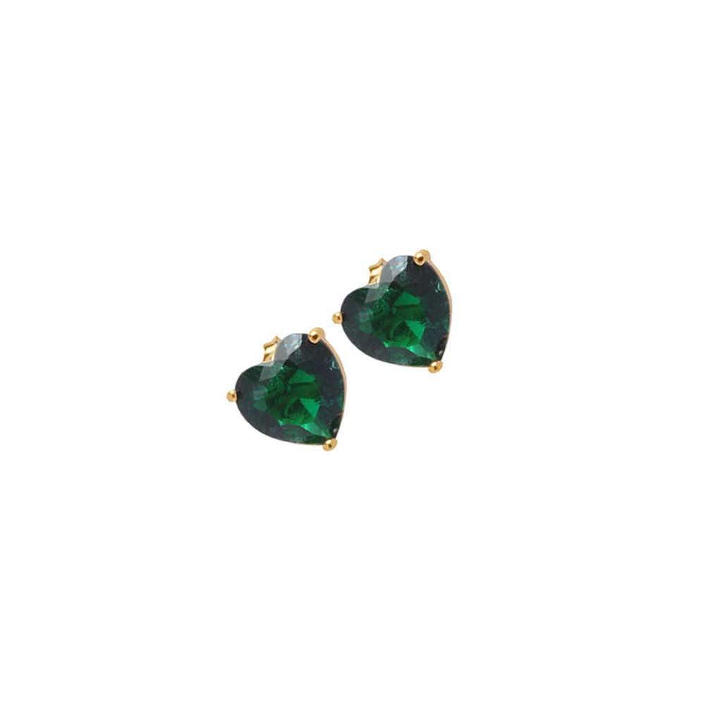 Brinco Coração Pedra Fusion Verde Folheado A Ouro 18k