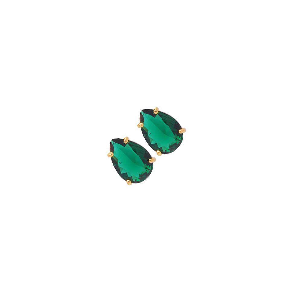 Brinco Cristal Gota Verde Folheado a Ouro