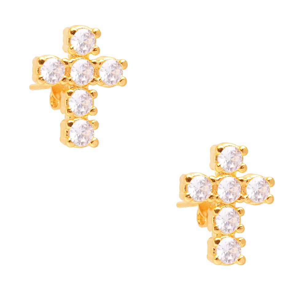 Brinco de Cruz Cravejada de Zircônias folheado em ouro 18k