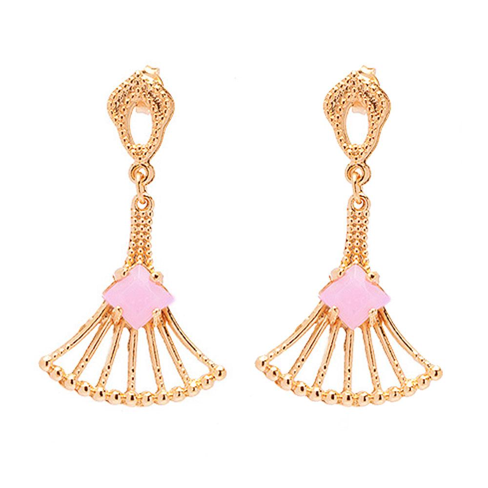 Brinco De Pedra Quadrada Cristal Rosa Folheado A Ouro 18k