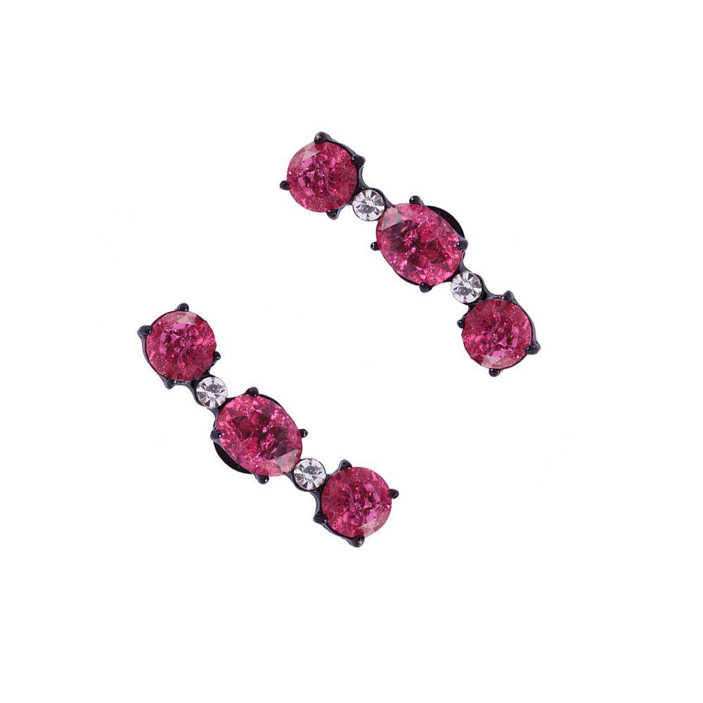 Brinco Ear Curff Com Pedra Fusion Pink Folheado A Ouro 18k