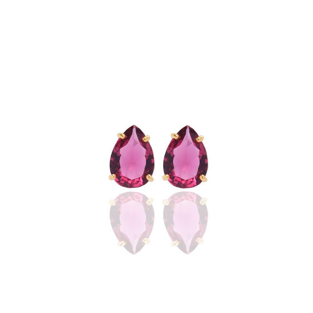 Brinco Gota Pedra Fusion Pink Folheado A Ouro