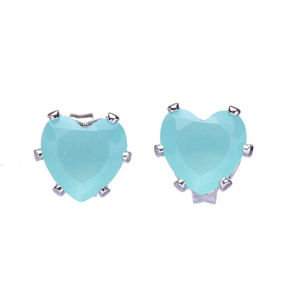 Brinco Medio Coração Pedra Azul Folheado A Metalico