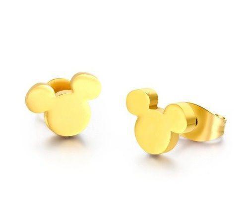 Brinco Mickey Super Delicado Folheado A Ouro 18k