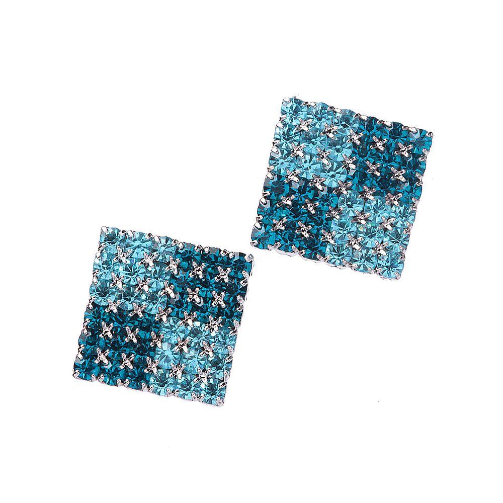 Brinco Quadrado 2 Tons de Azuis Folheado A Metalico