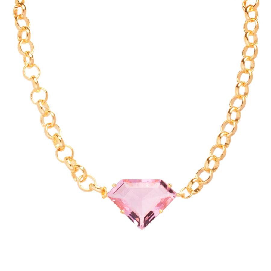 Choker Elo Português Pingente formato Diamante Delicado Folheado Ouro 18k