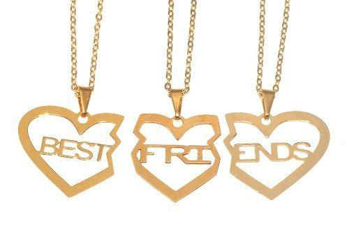 Colar Amigas Best Friends Amizade Folheado 3 Pçs - B17