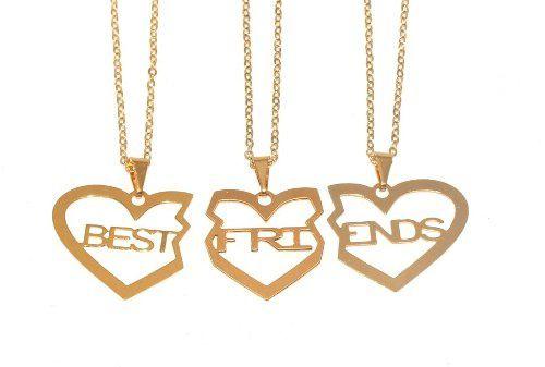 Colar Best Friends Forever Amizade Folheado Ouro 3 Pçs - B17