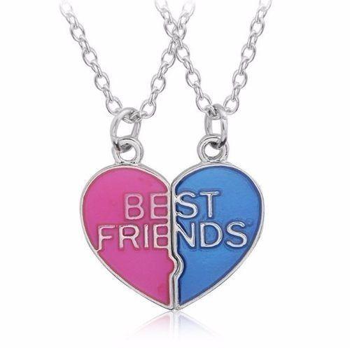 Colar Best Friends Melhores Amigas Amizade Folheado Resinado