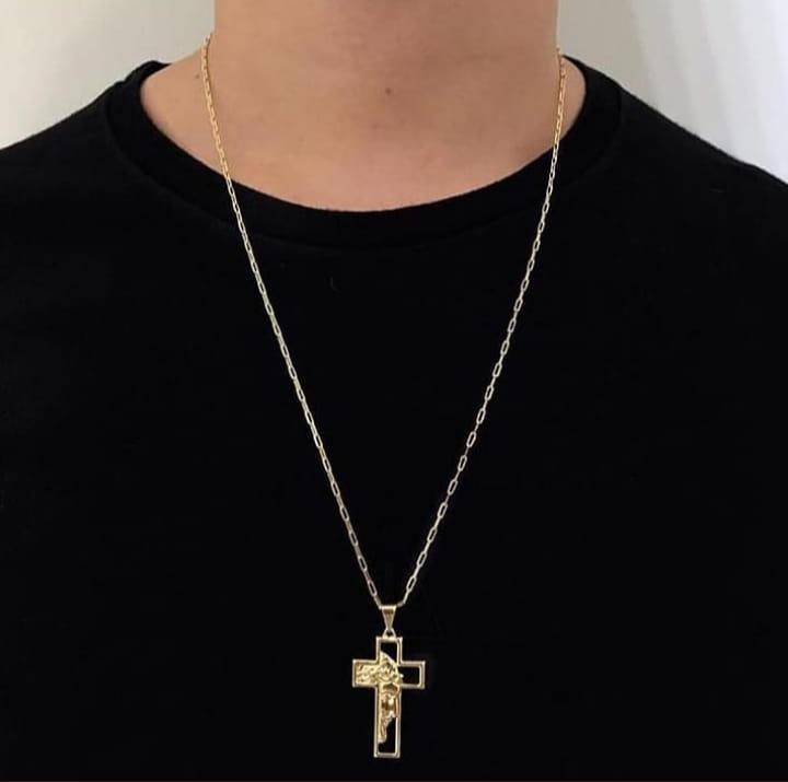 Colar  Cartier  Jesus Cristo folheado a Ouro 18k
