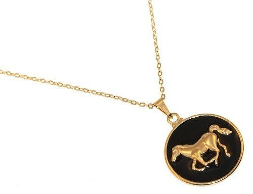 Colar Cavalo Country Preto Folheado A Ouro 18k