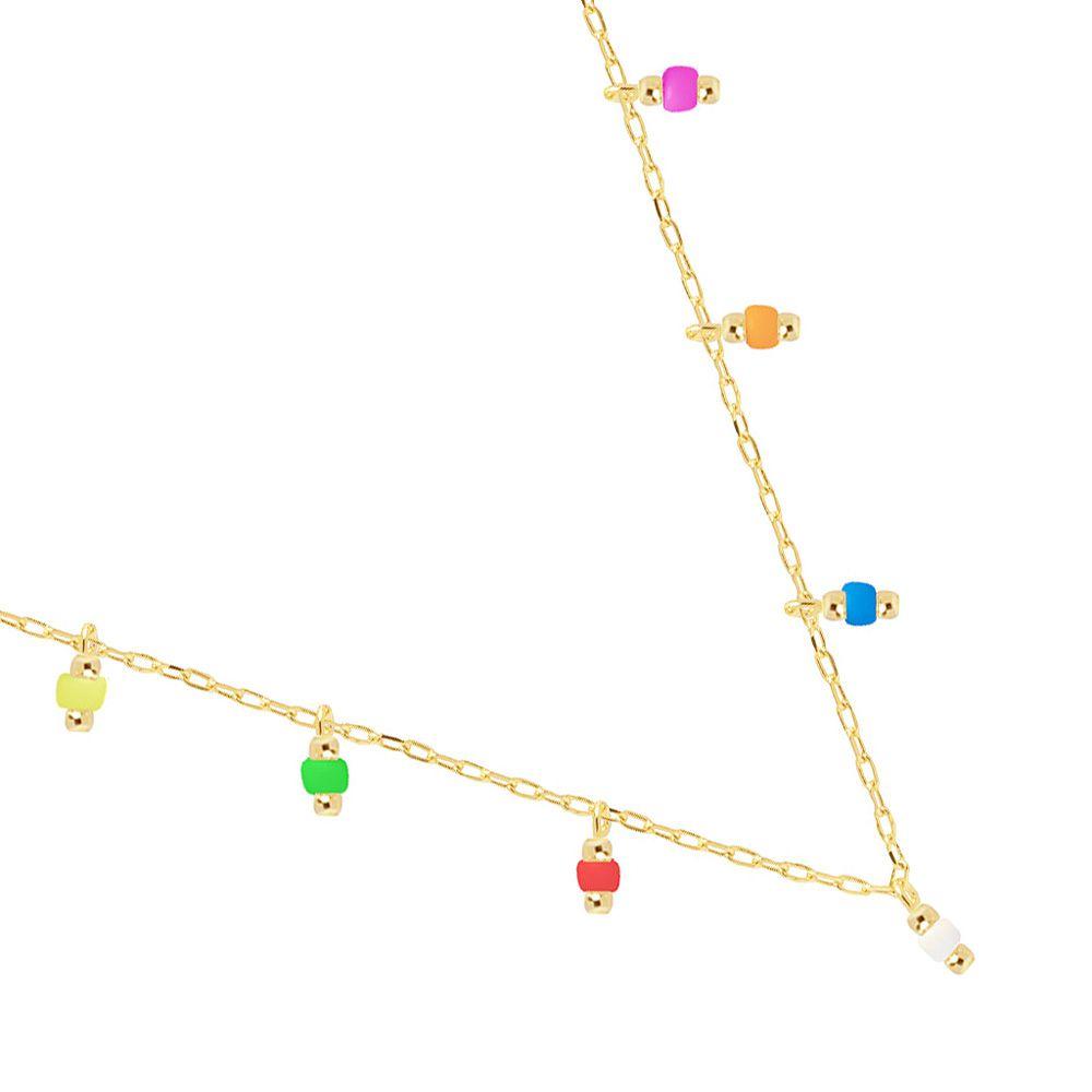 Colar Choker Cartier Com Miçangas Coloridas E Bolinha Folheado A Ouro 18K