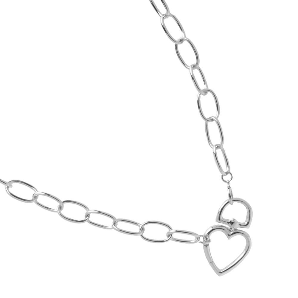 Colar Choker Coração Cadeado Folheado A Prata