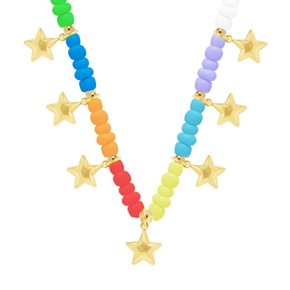 Colar Choker Miçangas Coloridas E Bolinhas Com Estrelas Folheado A Ouro