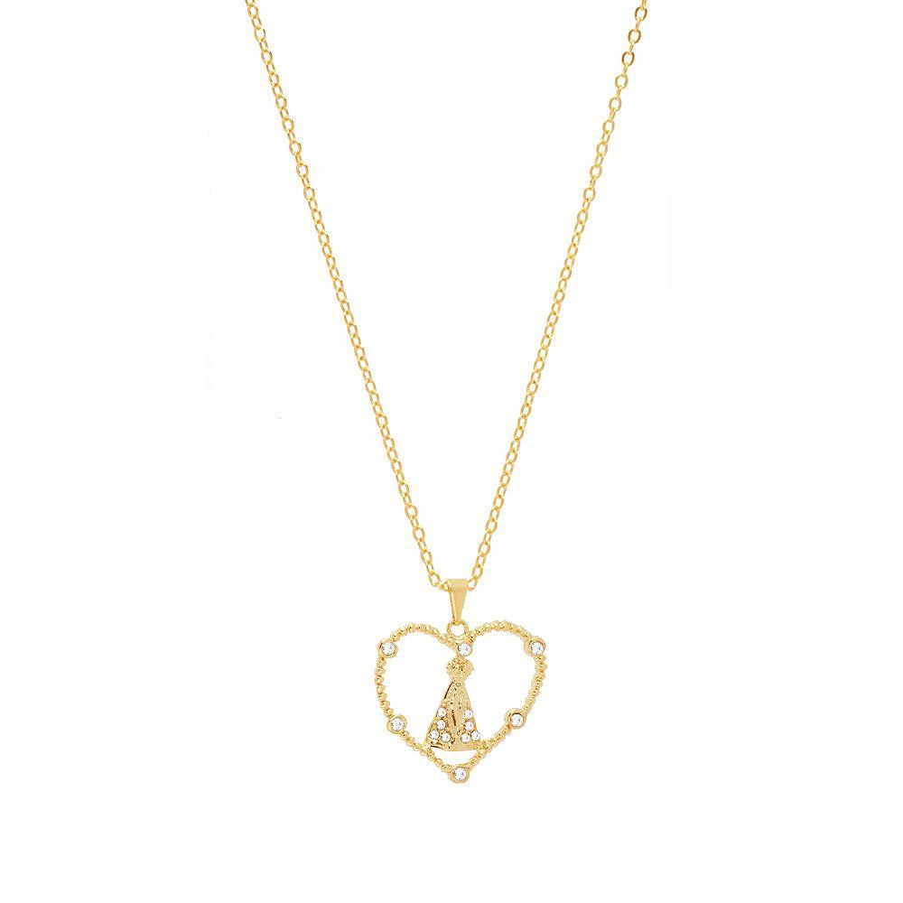Colar Com Pingente Coração Nossa Senhora Aparecida Com Strass Folheado A Ouro Estoque Limitado
