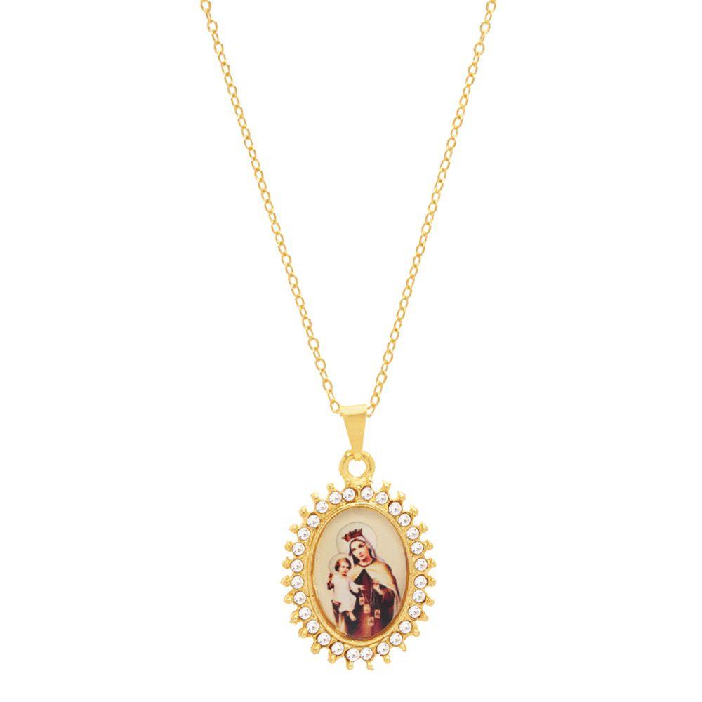 Colar Com Pingente Religioso Nossa Senhora Ducarmo Folheado A Ouro Estoque Limitado