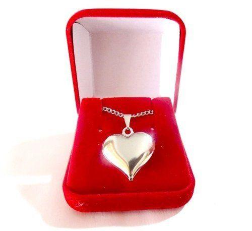 Colar Coração Cheio Com Caixa Veludo Aço Inox
