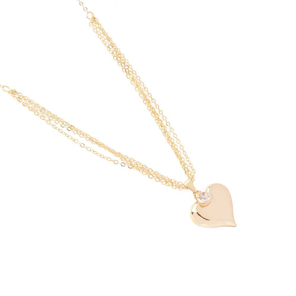Colar Coração De Chapa Com Ponto De Luz Lindíssimo Folheado A Ouro 18k
