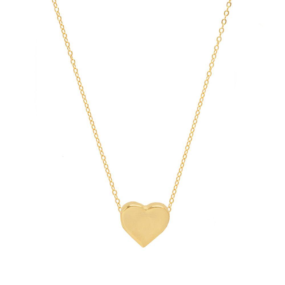 Colar Coração Delicado Super Lindo Folheado A Ouro 18k